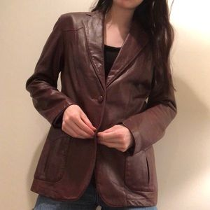 vintage 80s Nordstrom leather blazer fall staple!